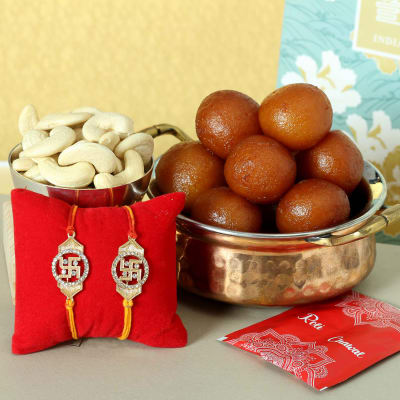 Set of 2 Metal Rakhi with Dry Fruits & Gulab Jamun