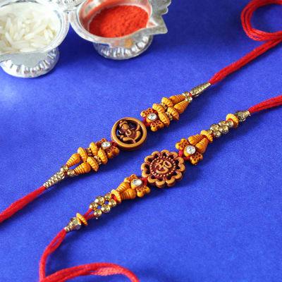 Set of 2 Om And Ganesha Beads Work Rakhi