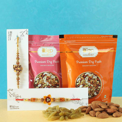 Set of 2 Pearl & Beads Rakhi with Premium Dry Fruits by IGP