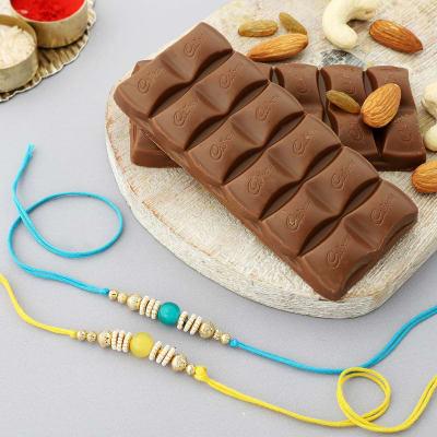 Set of 2 Pearl Rakhi with Cadbury Chocolates (2 Pcs)