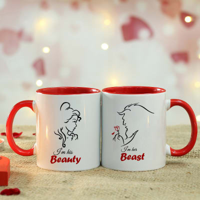 Set Of 2 Personalized Ceramic Red Handle Mug