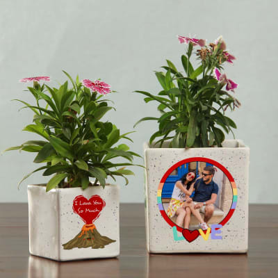 Set Of 2 Personalized I Love You Ceramic Planters