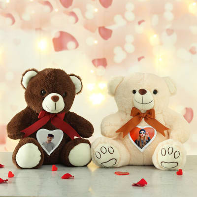 Set of 2 Personalized Teddy with Romantic Heart Print