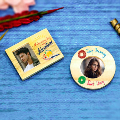 Set of 2 Personalized Wooden Photo Magnets