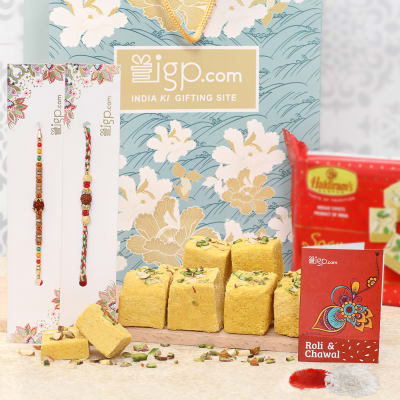 Set of 2 Rakhi with Soan Papdi Hamper