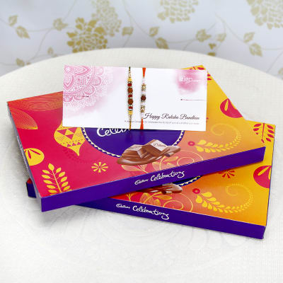 Set of 2 Rakhis with 2 Cadbury Celebrations Packs