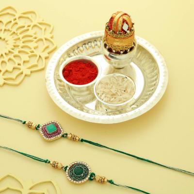 Set of 2 Semi Precious Jade Stone Rakhi with Silver Plated Puja Thali