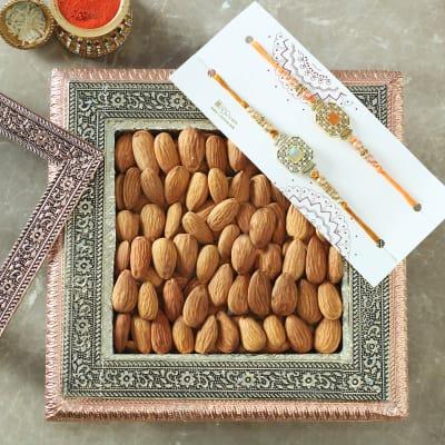 Set of 2 Semi Precious Stone Rakhi with Almonds in Gift box