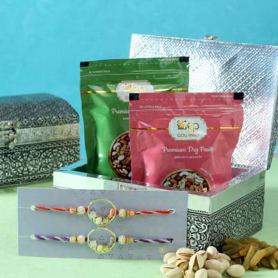 Set of 2 Semi Precious Stone Rakhi with Dry Fruits in Designer Box