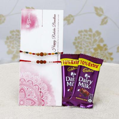 Set of 2 Stunning Rakhis with 2 Bars Of Dairy Milk Chocolates