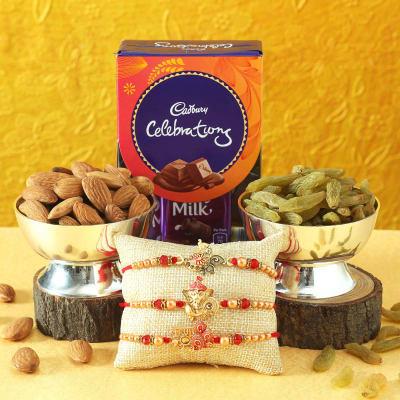 Set of 3 Meena Work Rakhi with Dry Fruits & Cadbury Celebrations