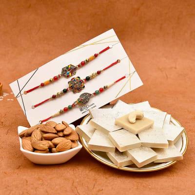 Set of 3 Meenawork Antique Rakhi with Kaju Katli & Dry Fruits