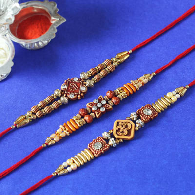 Set of 3 Om Shri & Beads Rakhi