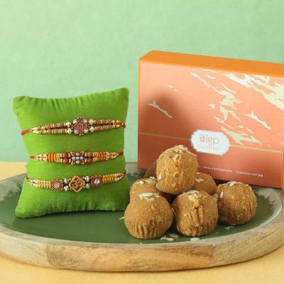 Set of 3 Pearl & Beads Rakhi with Besan Laddoo