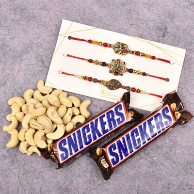 Set of 3 Rakhi with Cashews & Snickers Chocolates (2 Pcs)