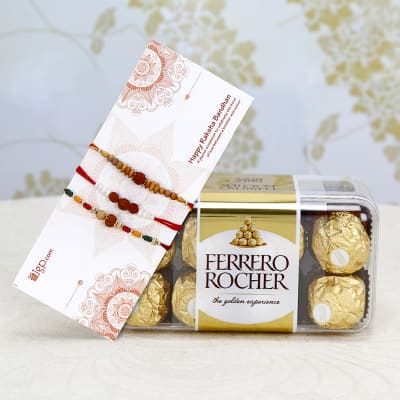 Set of 3 Rakhis With 16 Pcs Ferrero Rocher Box