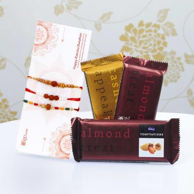 Set of 3 Rakhis with 3 Cadbury Temptations Chocolate
