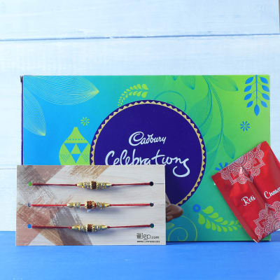 Set of 3 Rudraksh Rakhi with Cadbury Celebrations & Roli Chawal Kit