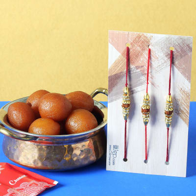 Set of 3 Rudraksh Rakhi with Gulab Jamun (1 Kg)