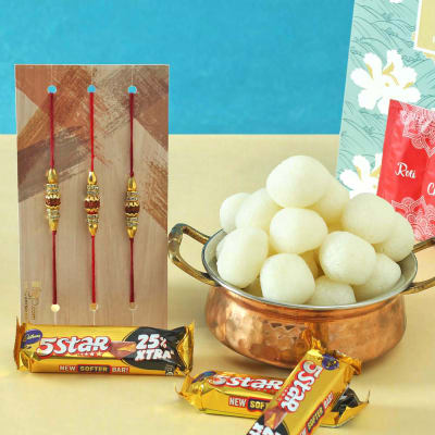 Set of 3 Rudraksh Rakhi with Rasgulla & Cadbury Chocolates