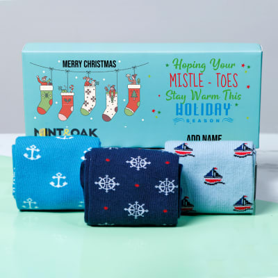 Set of 3 Sailor Themed Socks in Personalized Christmas Gift Box
