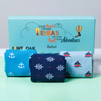 Set of 3 Sailor Themed Socks in Personalized Gift Box