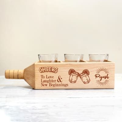 Set of 3 Shot Glasses with Personalized Wooden Holder