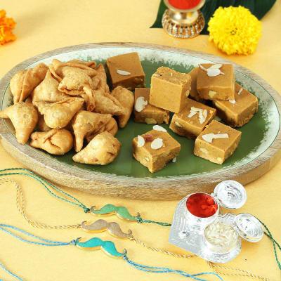 Set of 3 Stone Rakhi with Chana Badam & Cocktail Samosa Hamper
