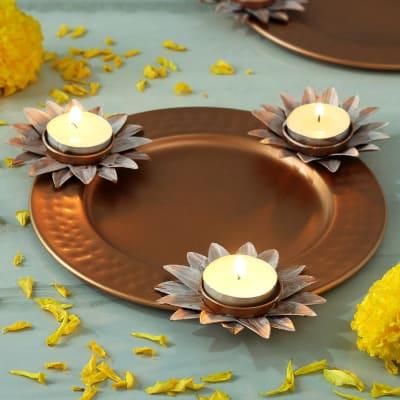 Set of 3 Tea-Light Candle on Metal Platter