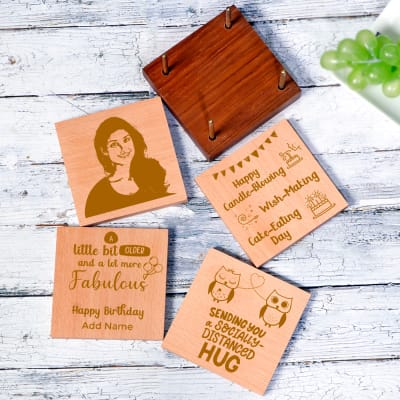 Set of 4 Personalized Birthday Square Coasters with Holder