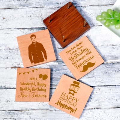Set of 4 Personalized Birthday Square Coasters with Holder for Men