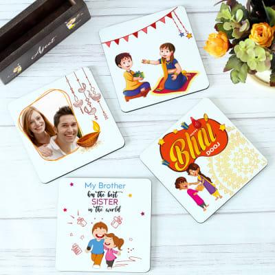 Set of 4 Personalized Coasters with Coaster Holder for Bhai Dooj