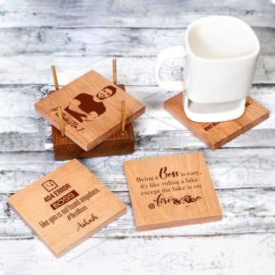 Set of 4 Personalized Wooden Coasters with Holder for Boss's Day