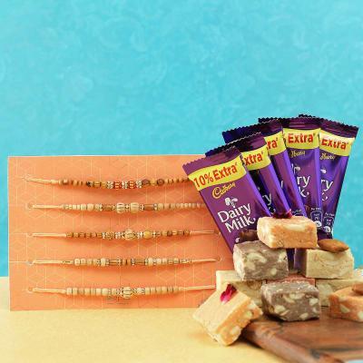Set of 5 Beads Rakhi with Mewa Bites & Cadbury Chocolates