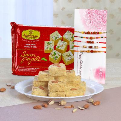 Set of 5 Beautiful Rakhis With 500g Soan Papdi