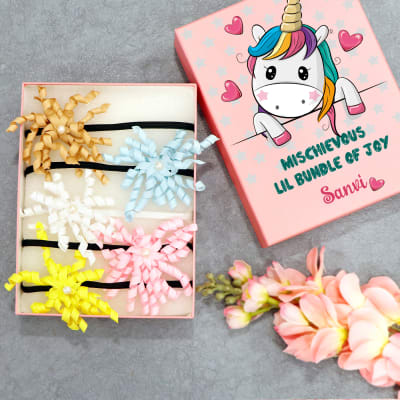 Set of 5 Headbands for Girls in Personalized Box