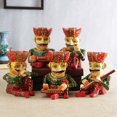 set of 5 indian traditional figurines gift send home and living