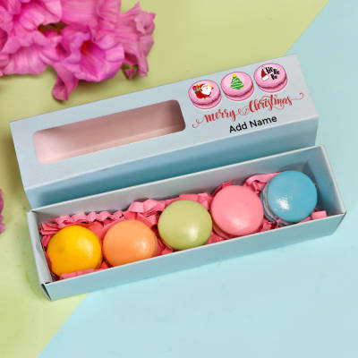 Set of 5 Macaroon Shaped Soaps in Personalized Christmas Gift Box