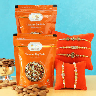 Set of 5 Pearl Rakhi with Premium Dry Fruits by IGP