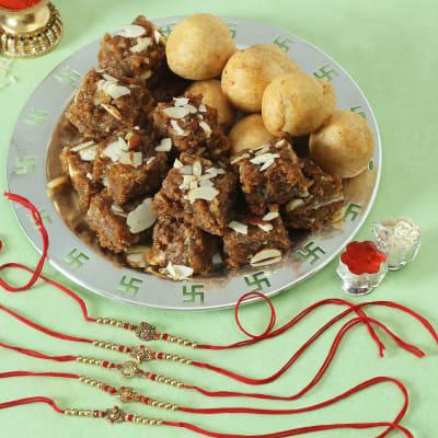 Set of 5 Rakhi with Doda Barfi & Dry Fruit Kachori Hamper