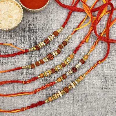 Set of 5 Rudraksh Rakhis