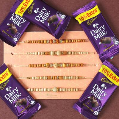 Set of 5 Sandalwood Beads Rakhi with Dairy Milk Chocolates (5 Pcs)
