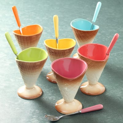 Set of 6 Cone shaped Ice Cream Bowls with Spoons