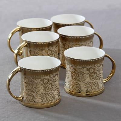 Set of 6 Gold Printed Mugs