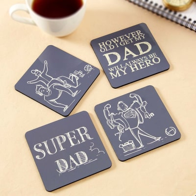 Set Of Four Wooden Coaster With Super Dad Quotes