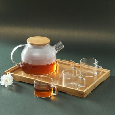 Set of Glass Kettle & Cups with Wooden Tray