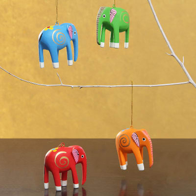 Set of Handicraft Wooden Hanging Elephant