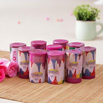 Set of Pink Holi Color Bottles