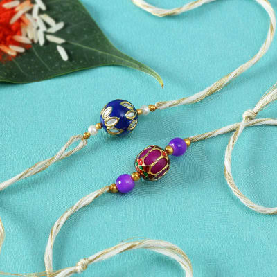 Set Of Two Kundan And meena work with Purple Beads With Jadau work Rakhi