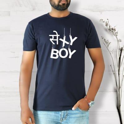 Sexy Boy Half Sleeve Men's T-Shirt - Navy Blue